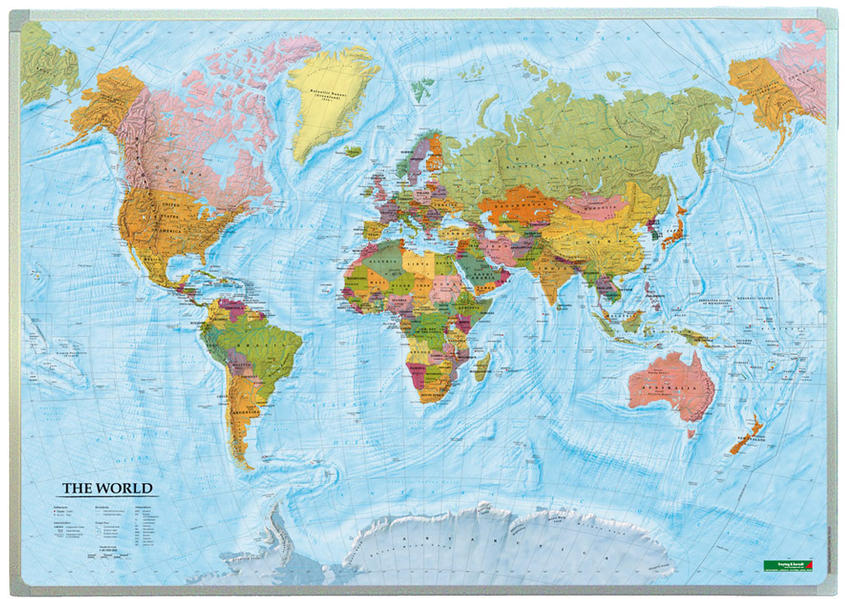 Wandkarte: The World, international, Markiertafel 1:40.000.000 - Coverbild
