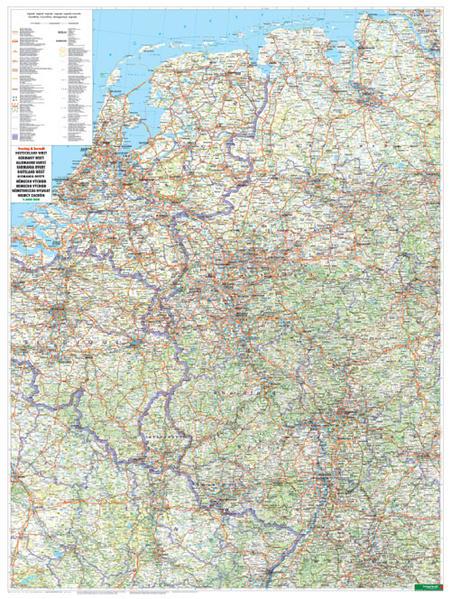 Wandkarte: Deutschland West, Poster, 1:500.000, Metallbestäbt in Rolle - Coverbild
