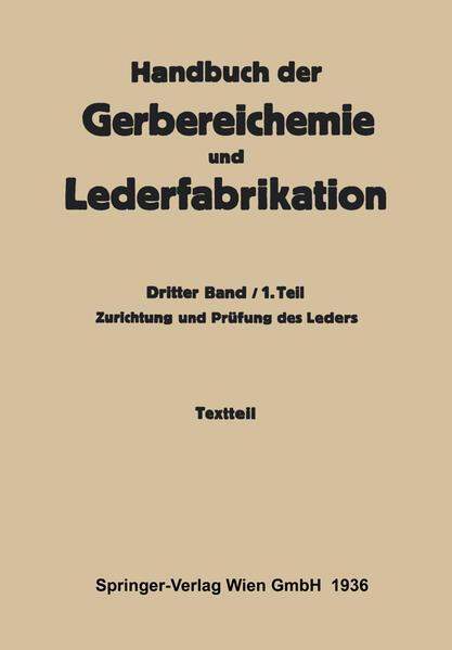 Zurichtung und Prüfung des Leders -Textteil - Coverbild