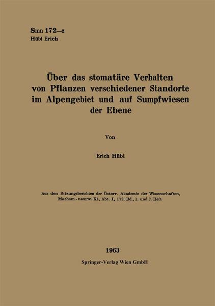 Über das stomatäre Verhalten von Pflanzen verschiedener Standorte im Alpengebiet und auf Sumpfwiesen der Ebene - Coverbild