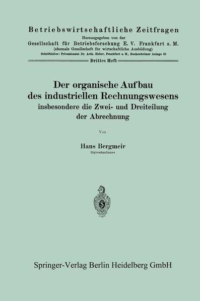 Der organische Aufbau des industriellen Rechnungswesens - Coverbild