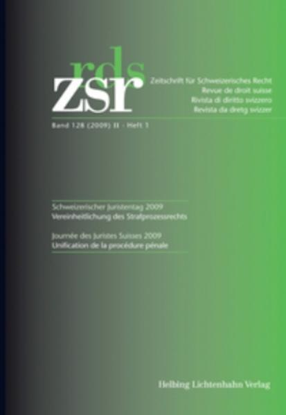 ZSR 2009 II Heft 1 - Schweizerischer Juristentag 2009 - Coverbild
