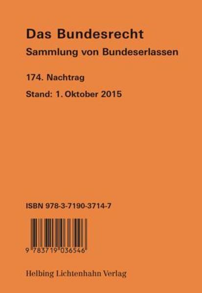 Das Bundesrecht, N 174 - Coverbild