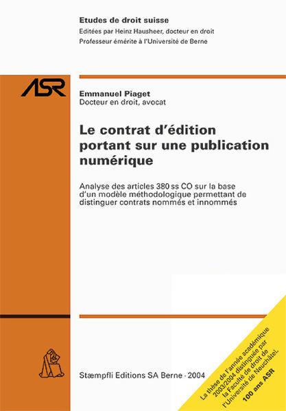 Le contrat d'édition portant sur une publication numérique - Coverbild