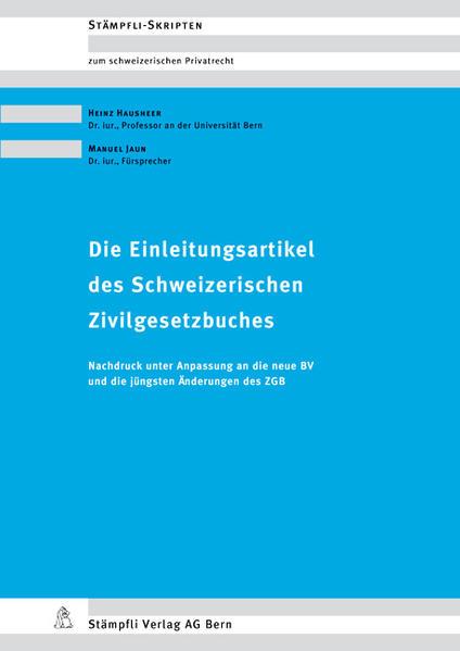Die Einleitungsartikel des Schweizerischen Zivilgesetzbuches - Coverbild