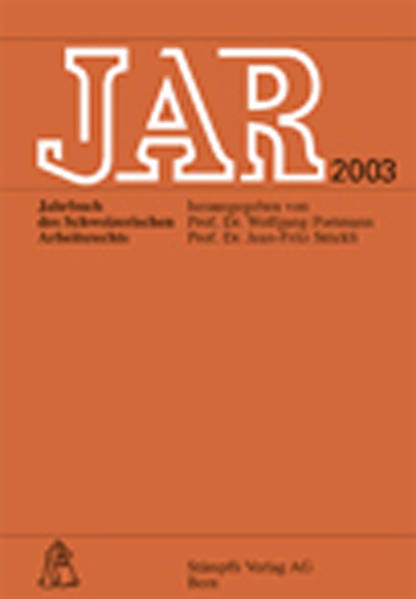 JAR. Jahrbuch des schweizerischen Arbeitsrechts - Coverbild