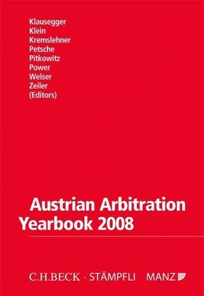 Austrian Arbitration Yearbook 2008 - Coverbild