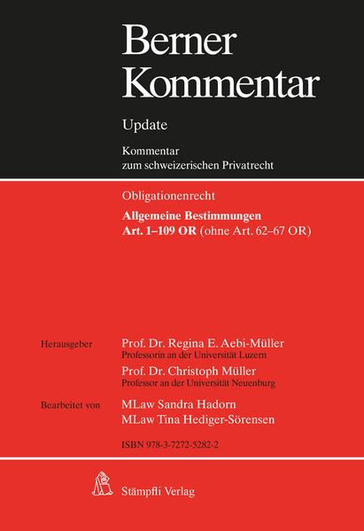 Berner Kommentar Update - Art. 1-109 OR, Grundwerk,  Allgemeine Bestimmungen (ohne Art. 62-67 OR) inkl. 7. Ergänzungslieferungen - Coverbild