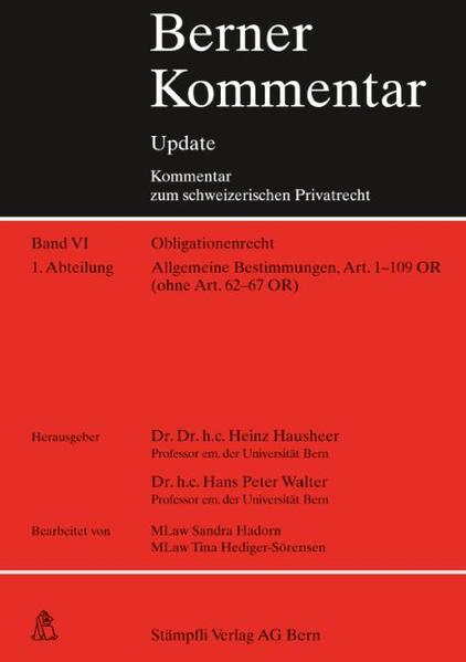 Berner Kommentar Update - Art. 1-109 OR, Lieferung 5, Allgemeine Bestimmungen - Coverbild