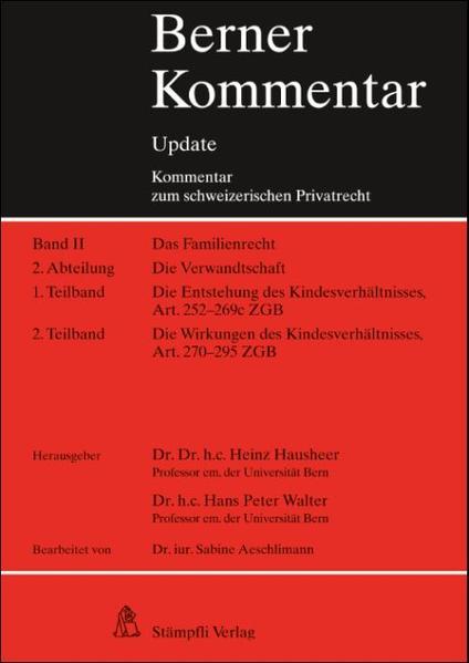 Berner Kommentar Update - Kindsrecht, Art. 252-295 ZGB - Coverbild