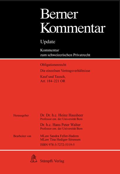 Berner Kommentar Update Kaufrecht, Art. 184-221 OR, 3. Ergänzungslieferung - Coverbild