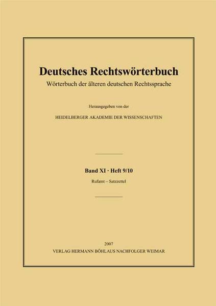 Deutsches Rechtswörterbuch - Coverbild
