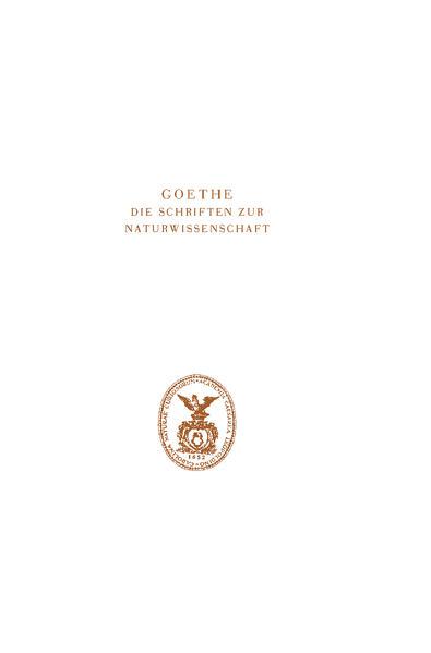 Goethe. Die Schriften zur Naturwissenschaft (Leopoldina) - Coverbild