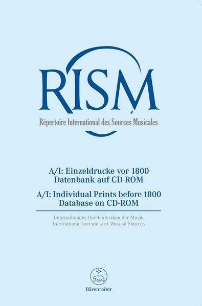 Répertoire International des Sources Musicales (RISM) / Einzeldrucke vor 1800 - Coverbild