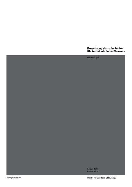 Berechnung starr-plastischer Platten mittels finiter Elemente - Coverbild