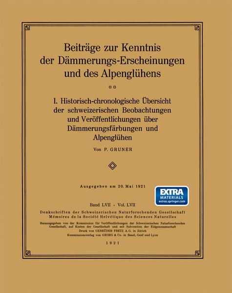Beiträge zur Kenntnis der Dämmerungs-Erscheinungen und des Alpenglühens - Coverbild