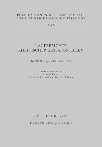Lageberichte rheinischer Gestapostellen - Coverbild