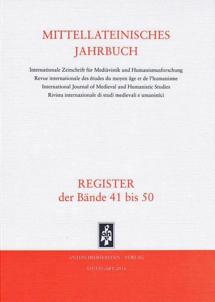 Mittellateinisches Jahrbuch. Internationale Zeitschrift für Mediävistik und Humanismusforschung / Mittellateinisches Jahrbuch - Coverbild