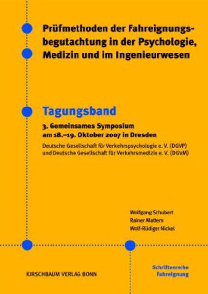 Prüfmethoden der Fahreignungsbegutachtung in der Psychologie, Medizin und im Ingenieurwesen - Coverbild