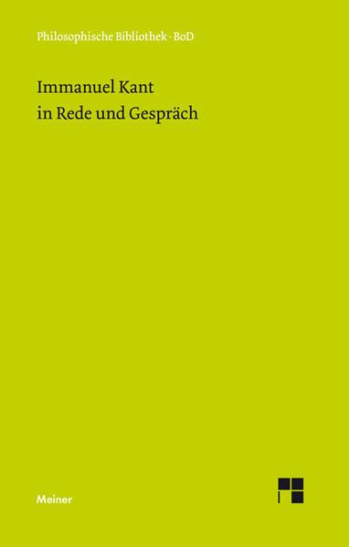 Immanuel Kant in Rede und Gespräch - Coverbild