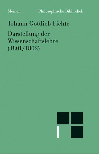 Darstellung der Wissenschaftslehre. Aus den Jahren 1801/02 - Coverbild