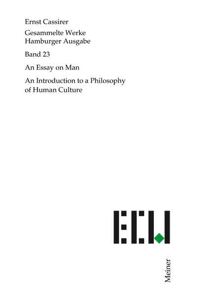 Gesammelte Werke. Hamburger Ausgabe / Essay on Man - Coverbild