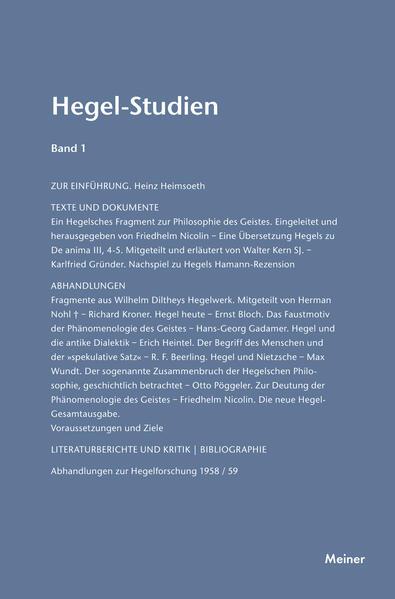 Hegel-Studien / Hegel-Studien Band 1 (1961) - Coverbild