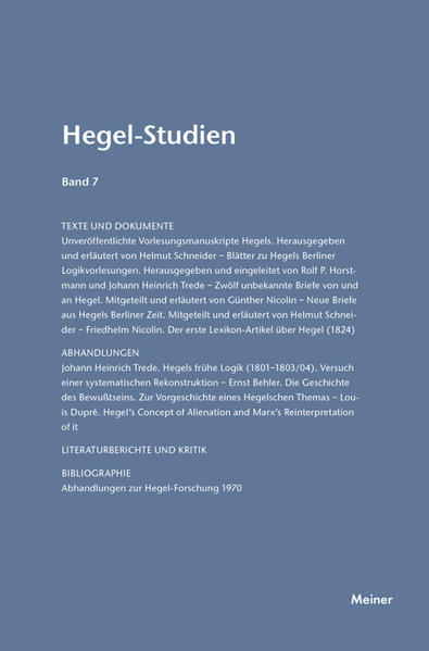 Hegel-Studien / Hegel-Studien Band 7 (1972) - Coverbild