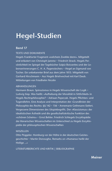 Hegel-Studien / Hegel-Studien Band 17 (1982) - Coverbild