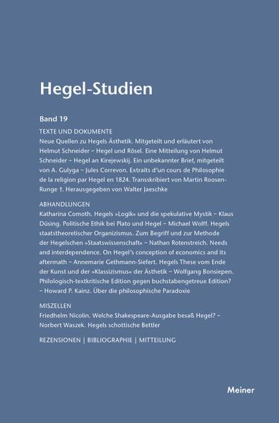 Hegel-Studien / Hegel-Studien Band 19 (1984) - Coverbild