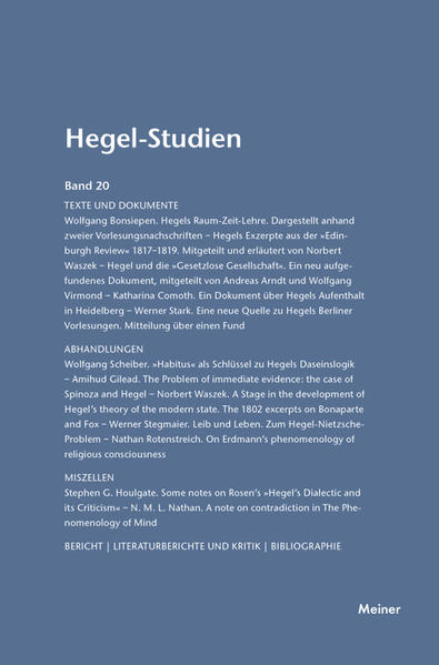 Hegel-Studien / Hegel-Studien Band 20 (1985) - Coverbild