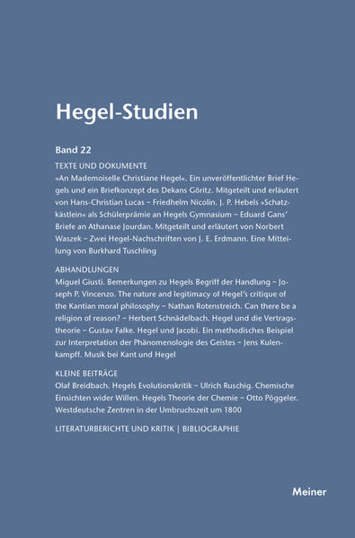 Hegel-Studien / Hegel-Studien Band 22 (1987) - Coverbild
