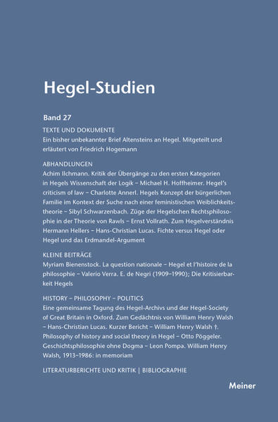 Hegel-Studien / Hegel-Studien Band 27 (1992) - Coverbild