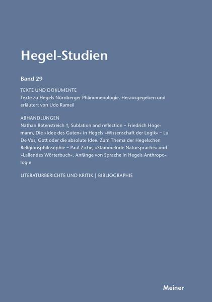 Hegel-Studien / Hegel-Studien, Band 29 - Coverbild