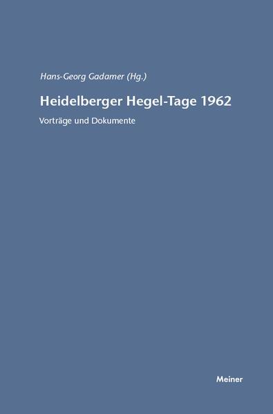 Heidelberger Hegel-Tage 1962 - Coverbild
