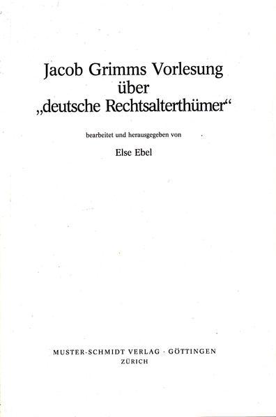 Jacob Grimms Vorlesung - Coverbild