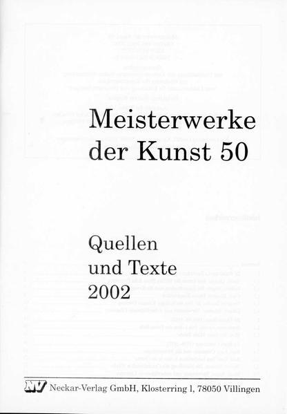 Meisterwerke der Kunst / Quellen und Texte 2002 - Coverbild