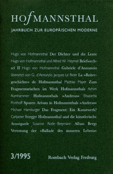 Hofmannsthal-Jahrbuch. Jahrbuch zur europäischen Moderne / Hofmannsthal-Jahrbuch. Jahrbuch zur europäischen Moderne - Coverbild