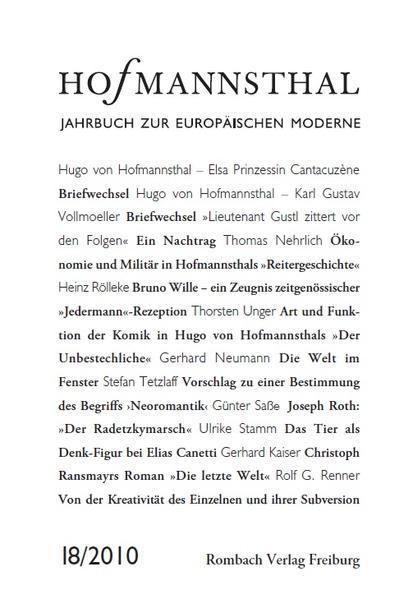 Hofmannsthal Jahrbuch zur Europäischen Moderne - Band 18/2010 - Coverbild