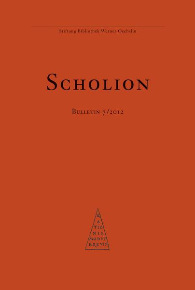 Scholion Bulletin 7/2012 - Coverbild