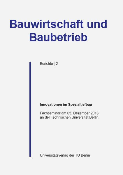 Innovationen im Spezialtiefbau - Coverbild