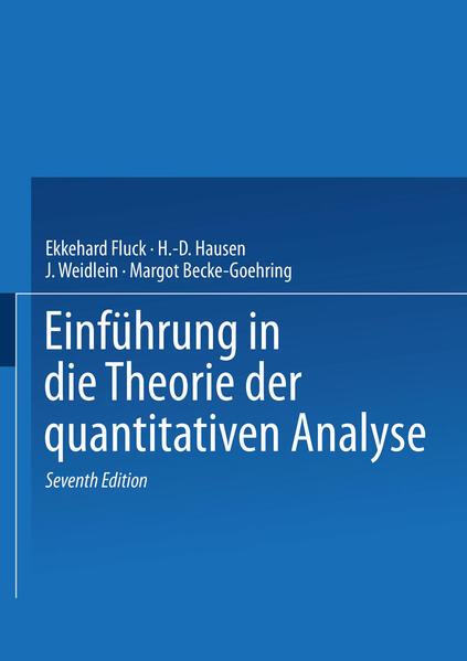 Einführung in die Theorie der quantitativen Analyse - Coverbild