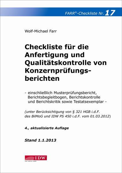 Checkliste 17 für die Anfertigung und Qualitätskontrolle von Konzernprüfungsberichten - Coverbild