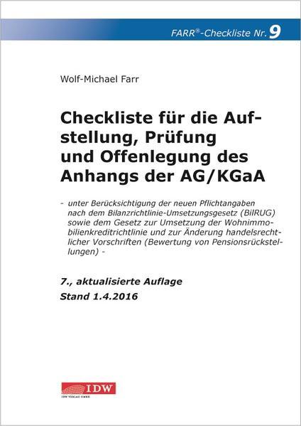 Checkliste 9 für die Aufstellung, Prüfung und Offenlegung des Anhangs  der AG/KGaA - Coverbild