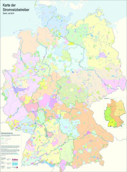 Karte der Stromnetzbetreiber 2016 - Coverbild