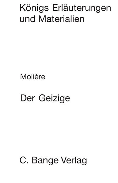 Der Geizige (L'Avare). Textanalyse und Interpretation. - Coverbild