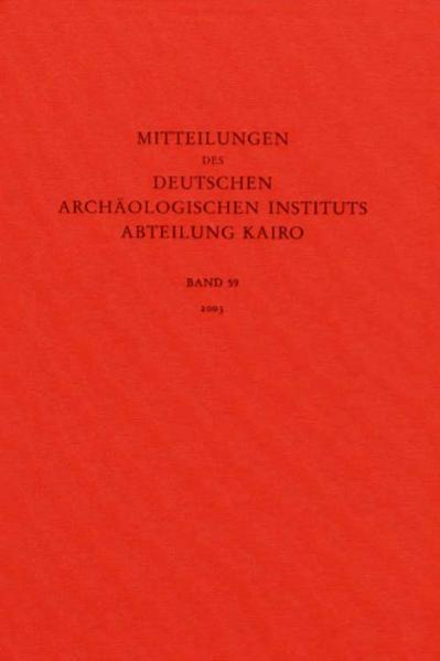Mitteilungen des Deutschen Archäologischen Instituts. Abteilung Kairo / Mitteilungen des Deutschen Archäologischen Instituts. Abteilung Kairo - Coverbild