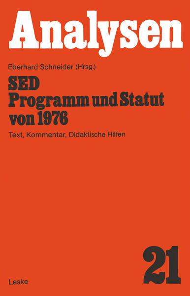 SED — Programm und Statut von 1976 - Coverbild