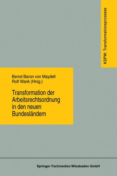 Transformation der Arbeitsrechtsordnung in den neuen Bundesländern - Coverbild