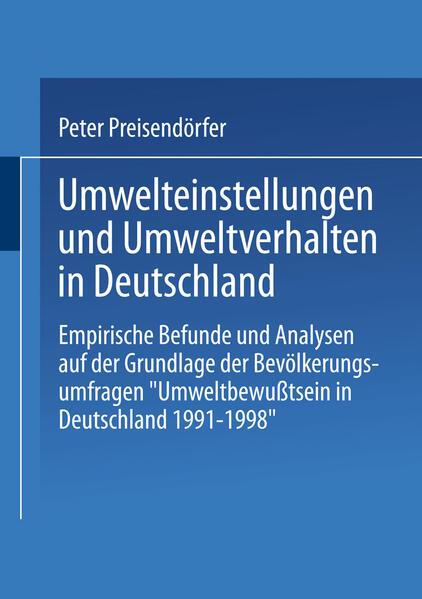 Umwelteinstellungen und Umweltverhalten in Deutschland - Coverbild